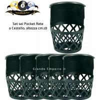 Biliardo tavolo pool set sei Pocket a cestello in plastica, per pool da abitazione senza gettoniera, altezza cm.18.