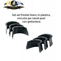 Biliardo pool tavolo con gettoniera set di 6 guarnizioni per buche Pocket Liners in plastica altezza mm.100