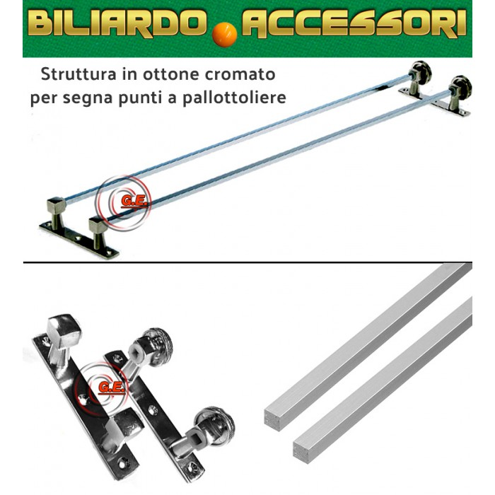 Biliardo accessori montatura in ottone cromato per segnapunti a pallottoliere, completa di aste e supporti. Dimensioni cm.69X13X5