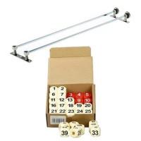 Biliardo accessori Segnapunti a pallottoliere completo di struttura in ottone cromato e doppia serie di numeri a cubetti rossi e bianchi.