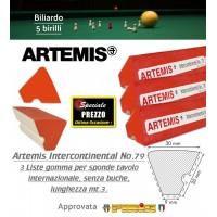 Biliardo 5 birilli set 3 liste in gomma per sponda tavolo internazionale senza buche Artemis Intercontinental No.79, lunghezza mt.3 ciascuna. Gomma approvata FIBIS