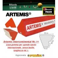 Biliardo 5 birilli lista in gomma per sponda tavolo internazionale senza buche Artemis Intercontinental No.79, lunghezza mt.3. Gomma approvata FIBIS.