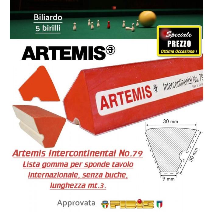 Biliardo 5 birilli lista in gomma per sponda tavolo internazionale senza buche Artemis Intercontinental No.79, lunghezza mt.3.