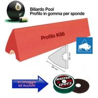 Buffalo Elite set di 6 liste gomma, da cm. 107, per sponde profilo K66, biliardo pool 8 piedi con campo da gioco fino cm. 224x112. In omaggio kit Acchitti.