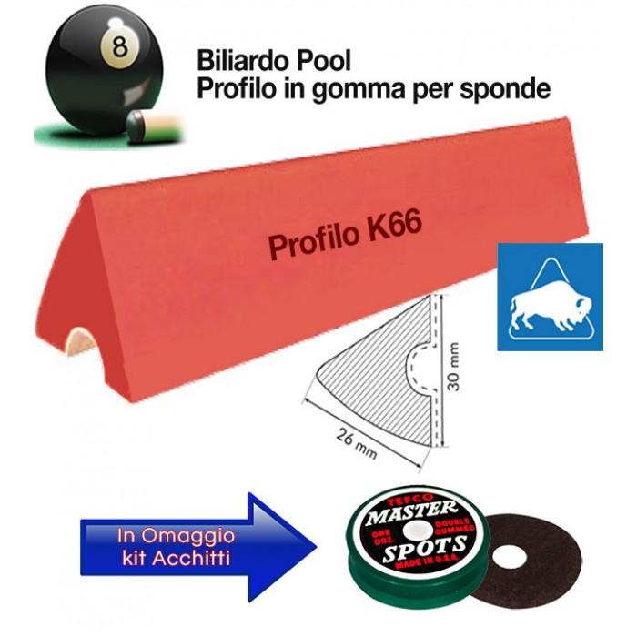 Buffalo Elite set di 6 liste gomma, da cm. 92, per sponde profilo K66, biliardo pool 6 e 7 piedi con campo da gioco fino cm.200x100. In omaggio kit Acchitti.