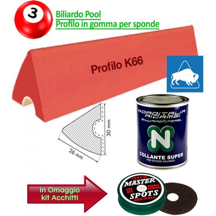 Buffalo Elite set di 6 liste gomma, da cm. 92, per sponde profilo K66, biliardo pool 6 e 7 piedi con campo da gioco fino cm.200x100.  Abbianto ad una confezione colla. In omaggio kit Acchitti.