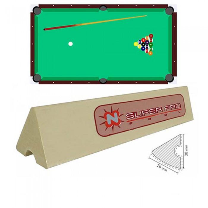 Sponde  B/G Super Pro set di 6 liste cm. 96 di gomma per sponde biliardo pool 6 e 7 piedi con campo da gioco cm.200x100.