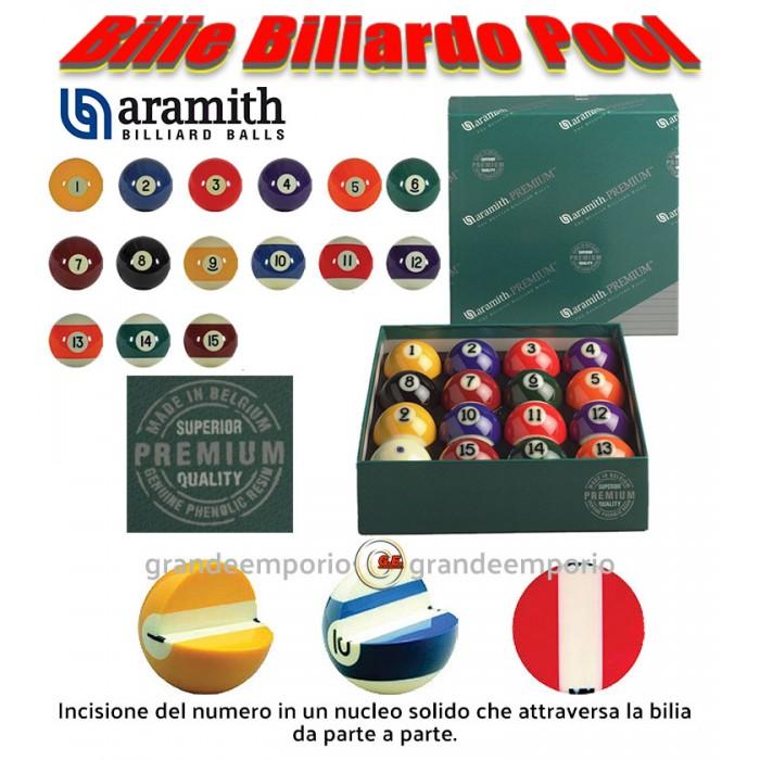 Biliardo pool bilie Aramith Premium diametro mm.57,2,  in resina fenolica con tecnologia Vitrotech, tutte le discipline pool, 15 biglie numerate e una bianca battente.