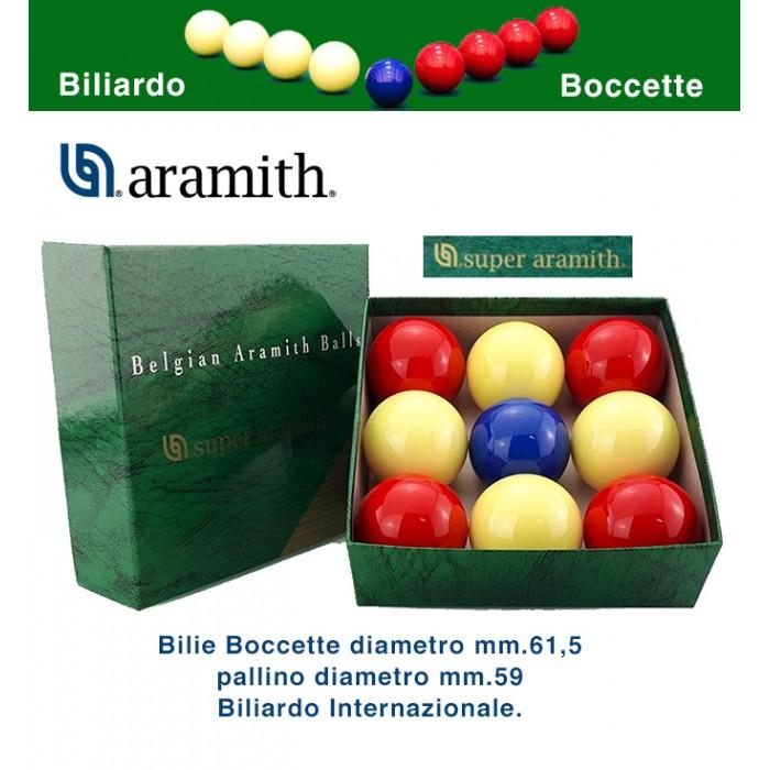 Bilie boccette Super Aramith diametro m.61,5 pallino diametro m.59 in resina fenolica 4 rosse 4 bianche pallino blu. Biliardo senza  buche internazionale