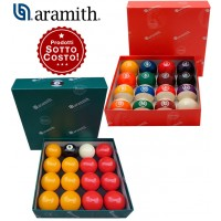 Aramith The Belgian Billiard Balls kit un set bilie Continental diametro mm.57,2, 15 bilie numerate e un set di bilie Premier Pool inglese Ø mm.57,2, 7 bilie gialle, 7 rosse, 1 numerata nera.