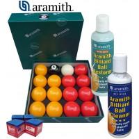 Aramith The Belgian Billiard Balls Premier Casinò bilie biliardo ,Ø mm.57,2, in resina fenolica, disciplina pool Inglese. 7 bilie rosse, 7 gialle, una nera numerata e una bianca battente, con Aramith ball cleaner, Aramith Restore e omaggio.