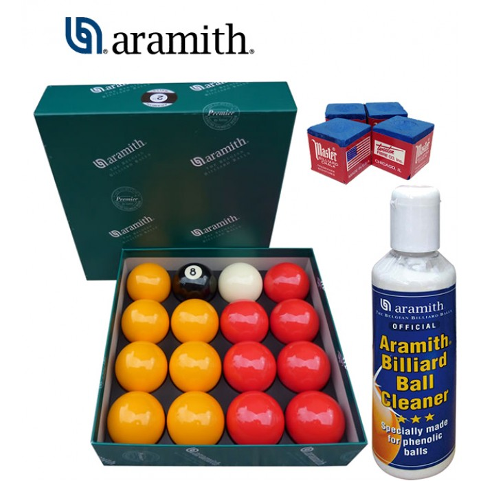 Aramith The Belgian Billiard Balls Premier Casinò bilie biliardo ,Ø mm.57,2, in resina fenolica, disciplina pool Inglese. 7 bilie rosse, 7 gialle, una nera numerata e una bianca battente, con Aramith ball cleaner e omaggio.