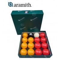 Aramith The Belgian Billiard Balls Premier Casinò  bilie biliardo, con buche, disciplina pool inglese Ø mm.57,2. 7 bilie gialle, 7 rosse, una nera numerata e una bianca battente.