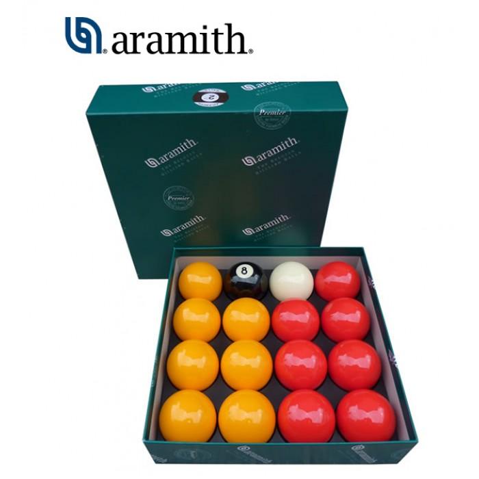 Aramith The Belgian Billiard Balls Premier Casinò  bilie biliardo, con buche, disciplina pool inglese  mm.57,2. 7 bilie gialle, 7 rosse, una nera numerata e una bianca battente.