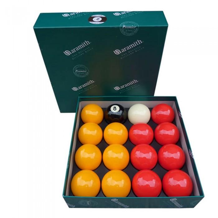Aramith The Belgian Billiard Balls Premier Casinò  bilie biliardo disciplina pool inglese  Ø mm.50,8. 7 biglie gialle, 7 rosse, una nera numerata e  una bianca battente.