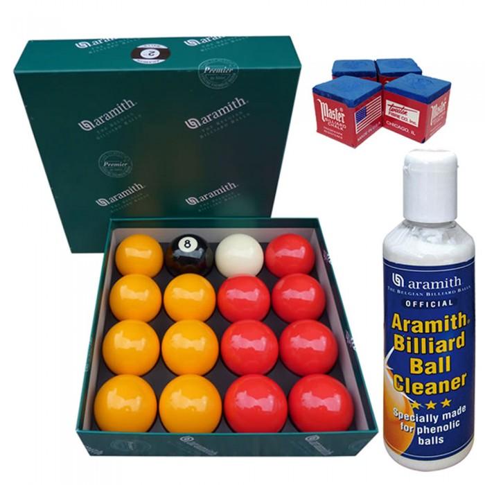 Aramith The Belgian Billiard Balls Premier Casinò bilie biliardo , mm.50,8, in resina fenolica, disciplina pool Inglese. 7 bilie rosse, 7 gialle, una nera numerata e una bianca battente, con Aramith ball cleaner e omaggio.