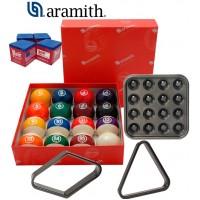 Aramith The Belgian Billiard Balls Continental bilie biliardo Ø mm.57,2, in resina fenolica, biliardo pool. 15 bilie numerate e una bianca battente Ø mm.57,2, con Triangolo, Vassoio, rombo e omaggio.