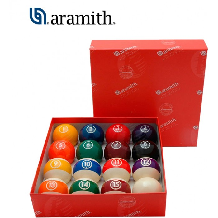 Aramith The Belgian Billiard Balls Continental bilie biliardo pool  mm.48, in resina fenolica,15 biglie numerate e una bianca battente.