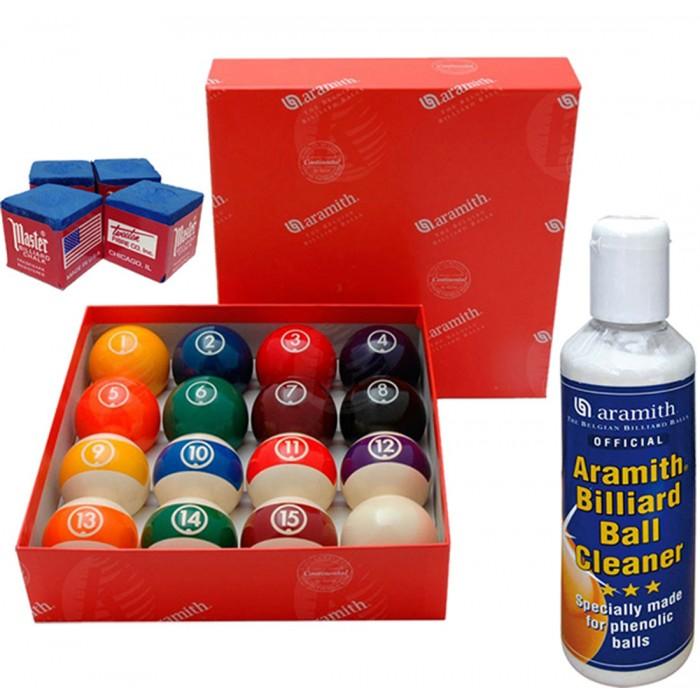 Aramith The Belgian Billiard Balls Continental bilie biliardo Ø mm.57,2, in resina fenolica, disciplina pool 15 biglie numerate e una bianca battente, con Aramith ball cleaner e omaggio