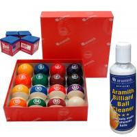 Aramith The Belgian Billiard Balls Continental bilie biliardo  mm.57,2, in resina fenolica, disciplina pool 15 biglie numerate e una bianca battente, con Aramith ball cleaner e omaggio