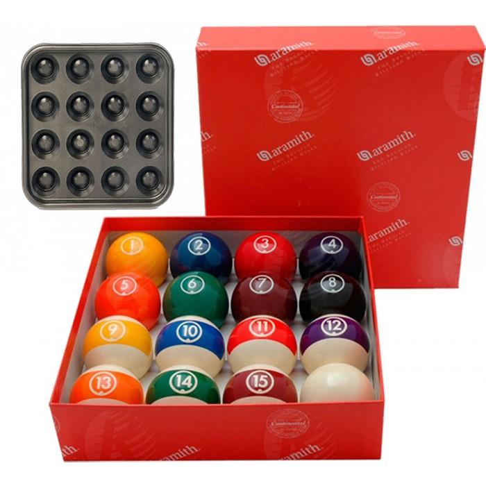 Aramith The Belgian Billiard Balls Continental bilie biliardo mm.57,2 in resina fenolica per biliardo pool 15 bilie numerate e una bianca battente e vassoio