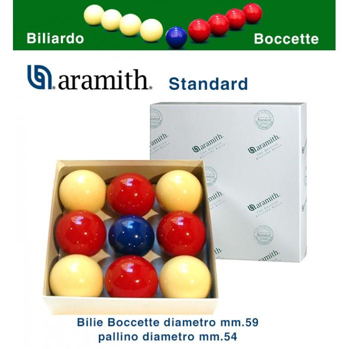 Bilie boccetta Aramith Standard, diametro m.59 , pallino diametro m.54  in resina fenolica. 4 rosse  - 4 bianche - pallino blu