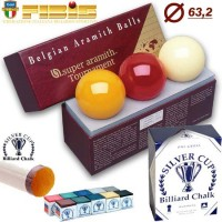 Super Aramith Tournament set tre blie Ø mm. 63,2 omologate FIBIS, biliardo internazionale senza buche disciplina 5 birilli e 9 birilli.