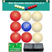 Biliardo Boccetta set bilie OAH Ø mm.61,5, specialità boccetta 5-9 birilli. 4 bilie rosse, 4 bianche e un pallino blu Ø mm.57. In omaggio set 5 birilli.