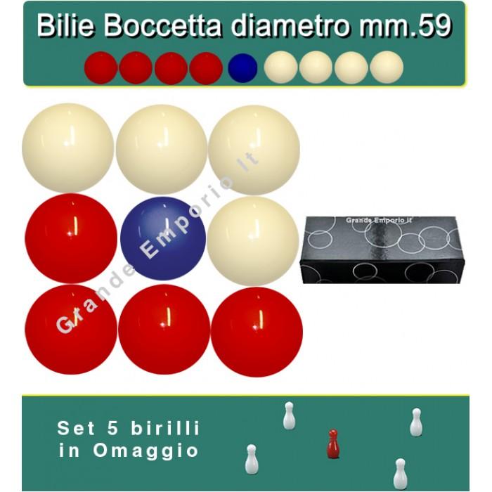Bilie boccette OAH per biliardo con buche diametro m.59 in resina sintetica  4 bilie rosse - 4 bianche  e un pallino blu diametro m.54 con omaggio