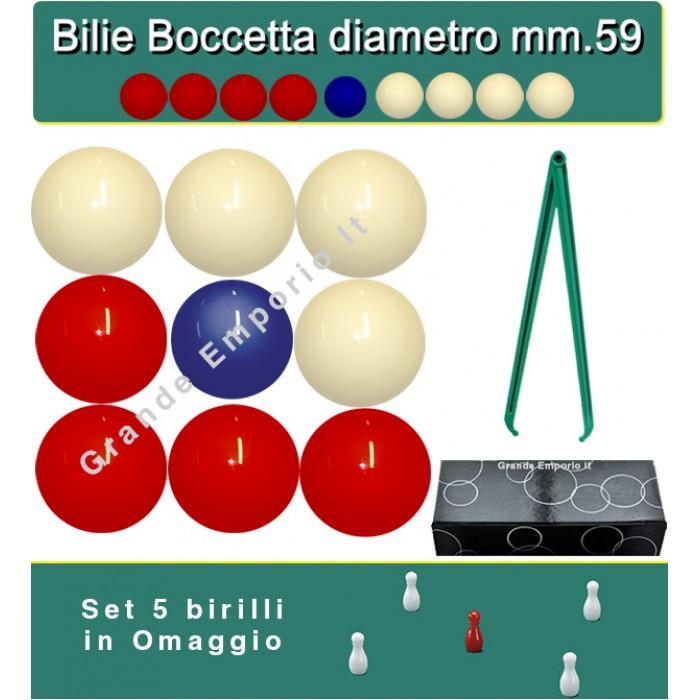 Bilie boccette OAH per biliardo con buche diametro m.59 in resina sintetica  4 bilie rosse - 4 bianche  e un pallino blu diametro m.54 con compasso-calibro cm.36 . In omaggio set 5 birilli.