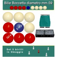 Bilie boccette OAH per biliardo con buche diametro m.59 in resina sintetica  4 bilie rosse - 4 bianche  e un pallino blu diametro m.54 abbinate ad un grembiule da biliardo. In omaggio set 5 birilli.