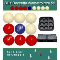 Bilie boccette OAH per biliardo con buche diametro m.59 in resina sintetica  4 bilie rosse - 4 bianche  e un pallino blu diametro m.54 con vassoio porta bilie e omaggio