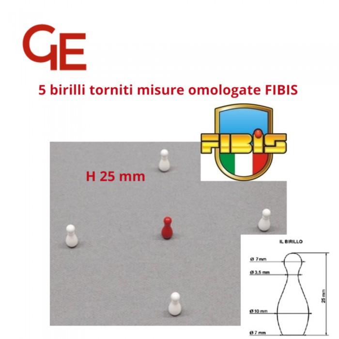 Set 5 birilli torniti in poliestere h 25 mm misure omologate FIBIS