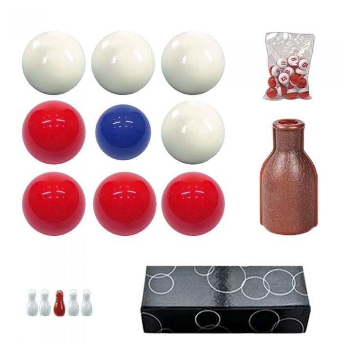 Bilie boccette per biliardo con buche diametro m.59 in resina sintetica  4 bilie rosse - 4 bianche  e un pallino blu diametro m.54 con fiaschetta e numeri per la Bazzica e omaggio