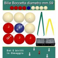 Bilie boccette OAH per biliardo con buche diametro m.59 in resina sintetica  4 bilie rosse - 4 bianche  e un pallino blu diametro m.54 con compasso-calibro cm.36 e compasso calibro c.12. In omaggio set 5 birilli.