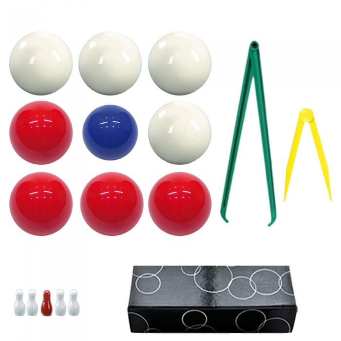 Bilie boccette per biliardo con buche diametro m.59 in resina sintetica  4 bilie rosse - 4 bianche  e un pallino blu diametro m.54 con compasso cm.36 e cm 12 omaggio set 5 birilli.