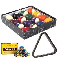 Biliardo pool. Set bilie OAH diametro mm.57,2. 15 palle numerate e 1 bianca battente, con triangolo per spacco e gesso per stecca in omaggio.