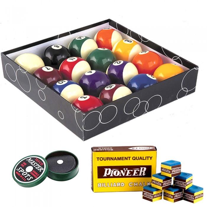 Biglie biliardo pool. Set bilie diametro mm.57,2. 15 palle numerate e una bianca battente con confezione di acchitti. Scatola gesso per stecca in omaggio.