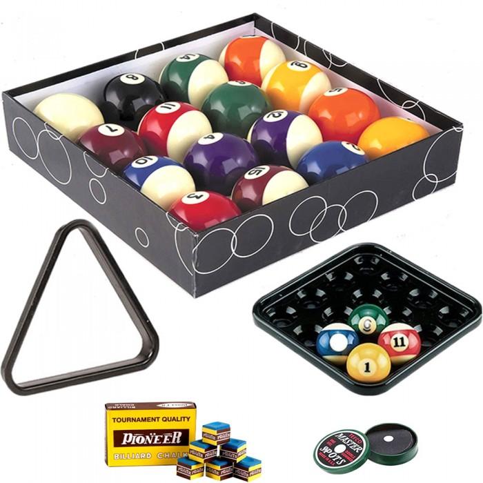 Biglie biliardo pool. Set bilie OAH diametro mm.57,2. 15 palle numerate una bianca battente, vassoio, triangolo, confezione di acchitti. Scatola gesso per stecca in omaggio.
