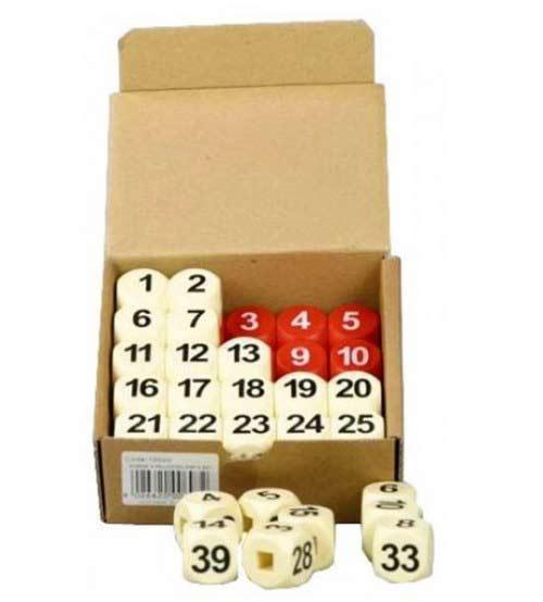 Biliardo cubetti per segnapunti, doppia serie di  50 cubetti in abs rossi e bianchi numerati a caldo, stampati sui quattro lati.