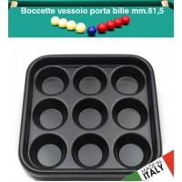 Biliardo boccetta vassoio porta bilie Ø mm.61,5, nove posti. Prodotto in PVC, made in Italy.