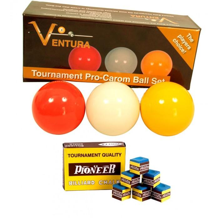 Biliardo internazionale senza buche carambola, tutte le specialità,  e 5 birilli,  set di tre bilie-biglie-palle Ventura Tournament diametro mm.61.5. Una bilia-biglia-palla bianca, una rossa e una arancio.
