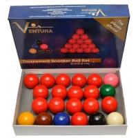 Ventura Snooker set biglie per Snooker  Ø mm.52,4. 15 biglie rosse, 6 colorate e una bianca battente.
