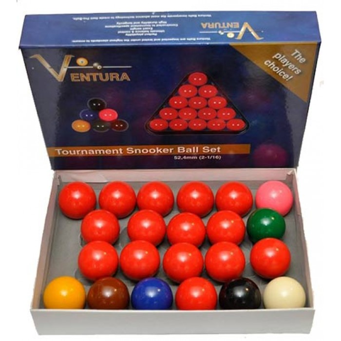 Ventura Snooker set biglie per Snooker  Ø mm.52,4. 15 biglie rosse, 6 colorate e una bianca battente.
