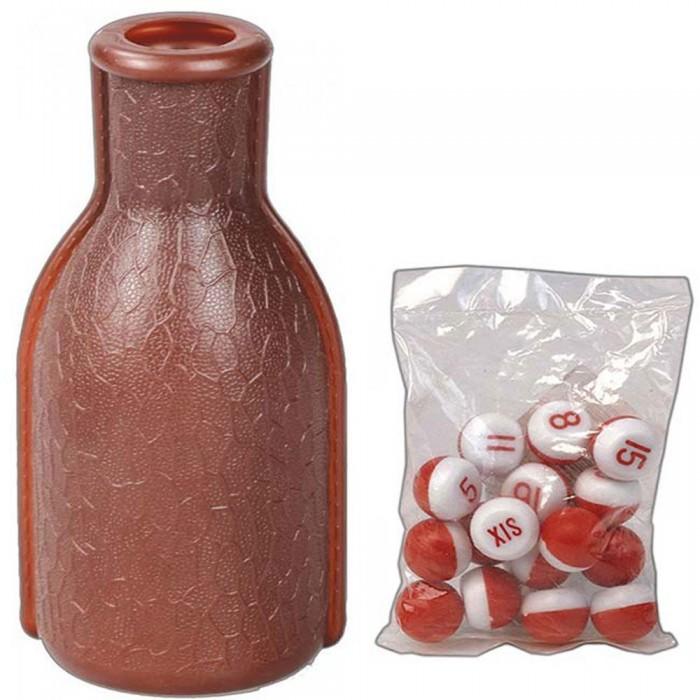 Fiaschetta in plastica, colore marrone per Bazzica, completa di set numeri.