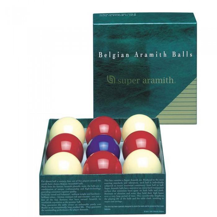 Bilie boccette Super Aramith diametro m.59 , pallino diametro m.54  in resina fenolica 4 rosse - 4 bianche - pallino blu. Biliardo a sei buche