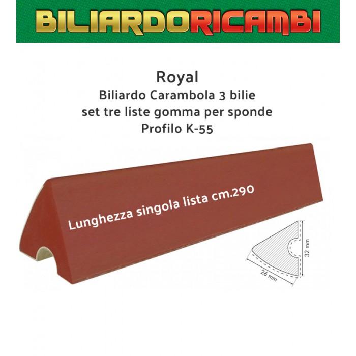 Biliardo Carambola 3 bilie. Set tre liste gomma Royal per sponde tavoli carambola profilo K-55: Lunghezza singola lista cm.290.