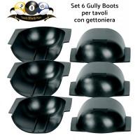 Biliardo pool, con gettoniera, set sei Gully Boots, professionali, in plastica sagomabile, adatti a qualsiasi tipo di buca. Dimensioni cm.16x15, altezza cm.5