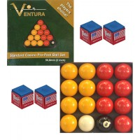 Ventura Casinò pro biglie biliardo disciplina pool inglese Ø mm.50,8. 7 biglie gialle, 7 rosse, nera numerata e bianca battente.