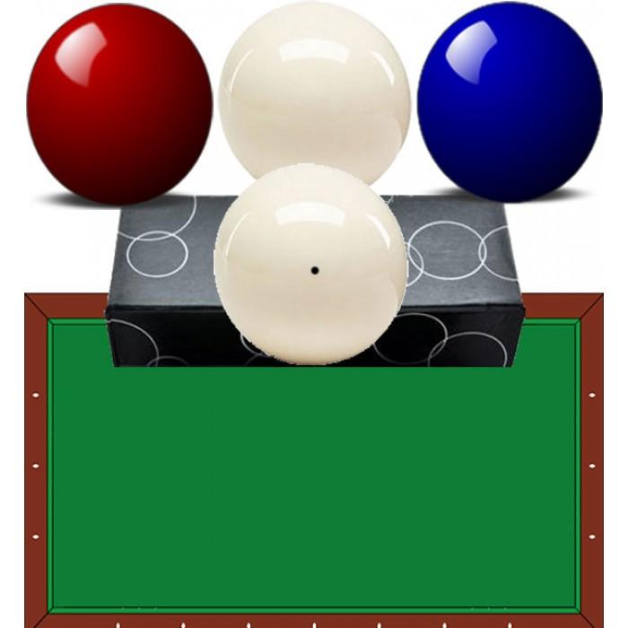 Bilie-biglie biliardo carambola (tavolo senza buche) diametro mm.61,5 quattro bilie nei colori blu, rosso e due bianche